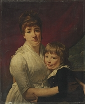 Portrait of a lady, half-length, seated in a chair, in a white dress, with a young boy in a blue jacket, at a window