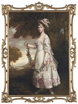 Portrait of Miss Julia Keasberry, full-length, in a white dress with pink ribbon trim and bows, and hat, holding a garland of flowers, in a landscape