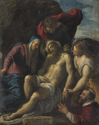 The Lamentation with a donor