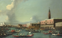 The Feast day of the Ascension, Venice: The Bacino di San Marco, looking west, with the Zecca, the Libreria, the Ducal Palace and the Bucintoro moored at the Riva degli Schiavoni, Santa Maria della Salute and the entrance to the Grand Canal beyond