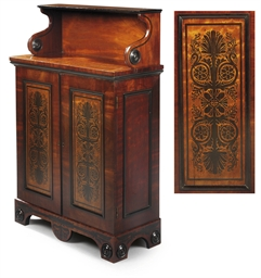 A REGENCY EBONISED MAHOGANY AN