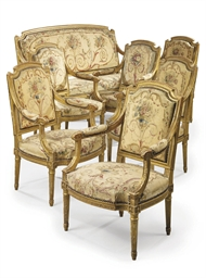 A SUITE OF FRENCH GILTWOOD AND