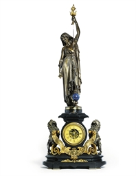 A FRENCH LARGE SILVERED, GILT-