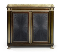 A REGENCY ORMOLU-MOUNTED AND BRASS-INLAID MAHOGANY AND ROSEWOOD SIDE CABINET