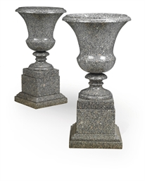 A PAIR OF SWEDISH GREY GRANITE