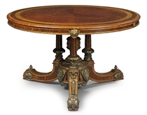 AN EARLY-VICTORIAN ORMOLU-MOUNTED THUYA, SATINWOOD, TULIPWOOD AND MARQUETRY CIRCULAR CENTRE TABLE