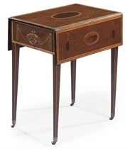 A GEORGE III HAREWOOD, YEWWOOD AND MARQUETRY PEMBROKE TABLE