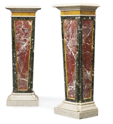 A PAIR OF ITALIAN MARBLE PEDES