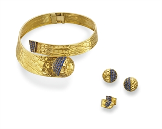 A SUITE OF SAPPHIRE AND GOLD J