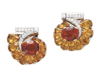 A PAIR OF RETRO CITRINE AND DI