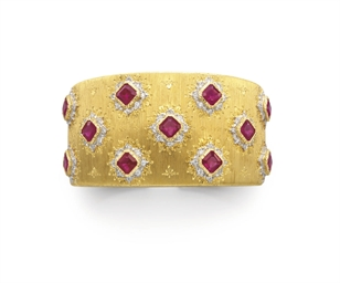 A RUBY, DIAMOND AND GOLD BRACE