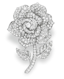 A DIAMOND ROSE BROOCH, BY RUSE