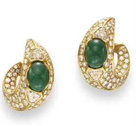 A PAIR OF DIAMOND, EMERALD AND
