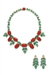 A SUITE OF CORAL, EMERALD AND DIAMOND JEWELRY