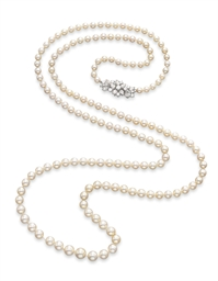 A PEARL AND DIAMOND SAUTOIR, B