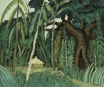 Scène d'Afrique - l'arbre centenaire