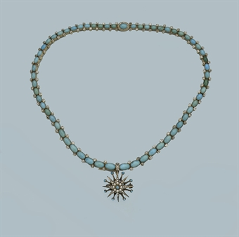 AN ANTIQUE TURQUOISE AND DIAMOND NECKLACE AND BROOCH   | Jewelry Auction | jewelry set, turquoise | Christie's :  necklace antique