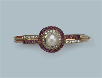 AN ANTIQUE NATURAL PEARL, RUBY