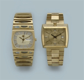 TWO 18K GOLD WRISTWATCHES, BY