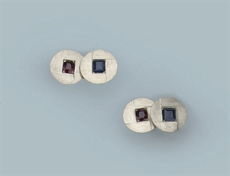 A PAIR OF GEM SET CUFF LINKS