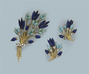 A GEM SET AND DIAMOND BROOCH A