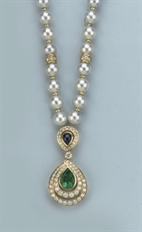 A CULTURED PEARL, GEM SET AND
