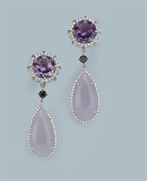 A PAIR OF AMETHYST AND JADE EA