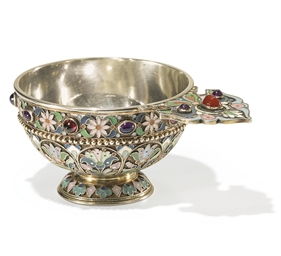 A Parcel-Gilt Silver and Clois