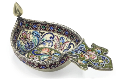 A Silver-Gilt, Cloisonné and P