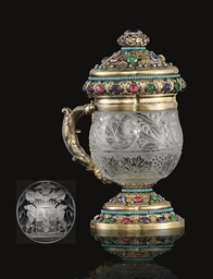 A Silver-Gilt Mounted Glass Ta