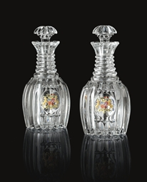 A Pair of Glass Decanters from