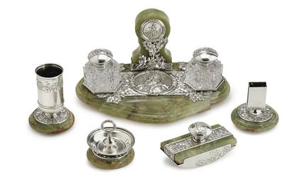 A Silver-Mounted Onyx Desk Set