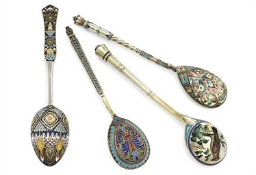 Four Silver Cloisonné and Cham
