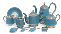 A Silver and Cloisonné Enamel Tea and Coffee Service