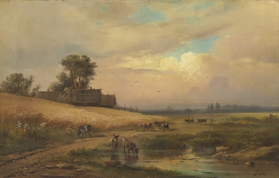 Cattle watering in a summer la
