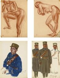 Soldier in blue uniform; Three