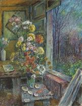 Flowers by a window