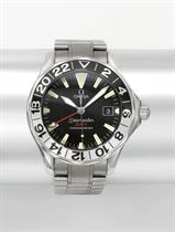 Omega A stainless steel automatic dual time wristwatch with