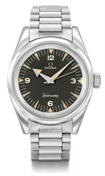 Omega. A fine and rare stainless steel anti-magnetic wristwatch with sweep centre seconds, black dial and bracelet