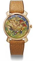 Eska. A rare and large 18K pink gold automatic wristwatch with sweep centre seconds and cloisonné enamel dial