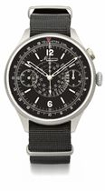 Minerva. A large and unusual stainless steel single button pilot's chronograph wristwatch with black dial