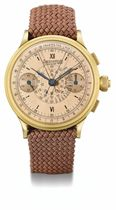Eberhard. A fine and unusual oversized 18K gold split seconds chronograph wristwatch with pink dial