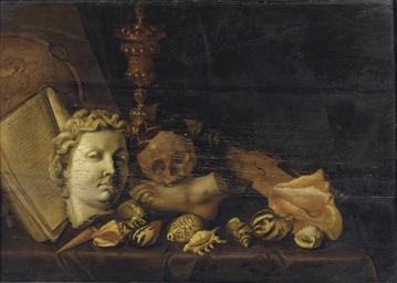 A Vanitas with a globe, a manu