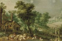 An Allegory of Summer with three Signs of the Zodiac: A wooded landscape with peasants shearing sheep and harvesting corn