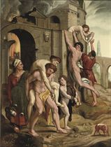 Aeneas rescuing his father Anchises from the burning city of Troy