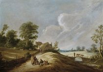 A wooded landscape with a gypsy family on a track