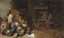 Peasants drinking and smoking in a barn with kitchen utensils in the foreground