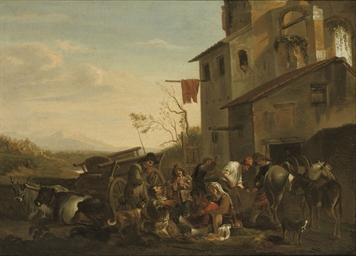 Peasants eating outside a town