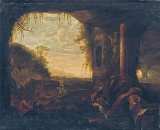 Travellers near a grotto by an