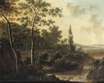 A wooded landscape with travellers on a path